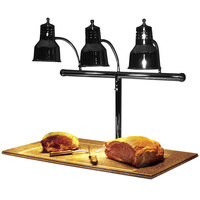 Hanson Heat Lamps 3LM-BB-B Triple Bulb 20 inch x 36 inch Black Carving Station with Synthetic Granite Base
