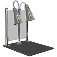 Hanson Heat Lamps DLM/900/CC/ST/CH Dual Bulb 20 inch x 24 inch Chrome Carving Station with Sneeze Guard