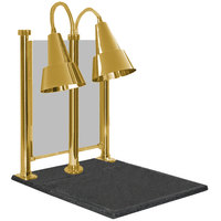Hanson Heat Lamps DLM/100/CC/ST/BR Dual Bulb 20 inch x 24 inch Brass Carving Station with Sneeze Guard