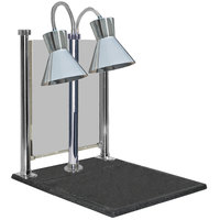 Hanson Heat Lamps DLM/300/CC/ST/CH Dual Bulb 20 inch x 24 inch Chrome Carving Station with Sneeze Guard