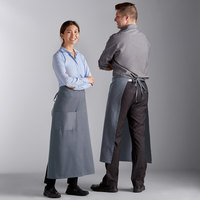 Choice Gray Poly-Cotton Bistro Apron with 1 Pocket - 34 inchL x 30 inchW
