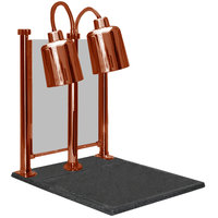 Hanson Heat Lamps DLM/700/CC/ST/SC Dual Bulb 20 inch x 24 inch Smoked Copper Carving Station with Sneeze Guard