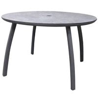 Grosfillex US42C288 Sunset 42 inch Concrete / Volcanic Black Round Table with Umbrella Hole