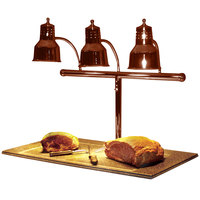 Hanson Heat Lamps 3LM-BB-SC Triple Bulb 20 inch x 36 inch Smoked Copper Carving Station with Synthetic Granite Base