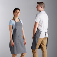 Choice Dark Gray Full Length Bib Apron with Adjustable Neck and Pockets - 32 inch x 30 inch