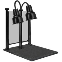 Hanson Heat Lamps DLM/600/CC/ST/B Dual Bulb 20 inch x 24 inch Black Carving Station with Sneeze Guard