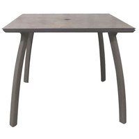 Grosfillex US36C288 Sunset 36 inch x 36 inch Concrete / Volcanic Black Square Table with Umbrella Hole