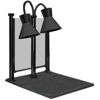 Hanson Heat Lamps DLM/300/CC/ST/B Dual Bulb 20 inch x 24 inch Black Carving Station with Sneeze Guard