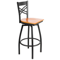 Lancaster Table & Seating Cross Back Bar Height Black Swivel Chair with Cherry Wood Seat