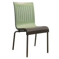 Grosfillex US928721 Viva Sage Green / Charcoal Gray Stacking Resin Side Chair - 4/Pack