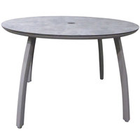 Grosfillex US48C289 Sunset 48 inch Concrete / Platinum Gray Round Table with Umbrella Hole