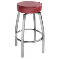 Lancaster Table & Seating Clear Coat Backless Barstool with Crimson Swivel Upholstered Seat