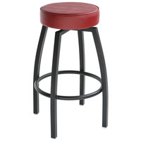 Lancaster Table & Seating Black Backless Barstool with Crimson Swivel Upholstered Seat