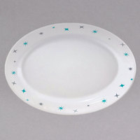 Homer Laughlin 112410029 Pulsar 9 inch x 6 7/8 inch Bright White Empire Coupe China Racetrack Platter - 24/Case