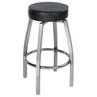 Lancaster Table & Seating Clear Coat Backless Barstool with Black Swivel Upholstered Seat