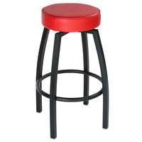 Lancaster Table & Seating Black Backless Barstool with Red Swivel Upholstered Seat