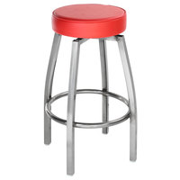 Lancaster Table & Seating Clear Coat Backless Barstool with Red Swivel Upholstered Seat