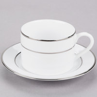 10 Strawberry Street DSL0009 6 oz. Double Line Silver Can Cup with Saucer   - 24/Case