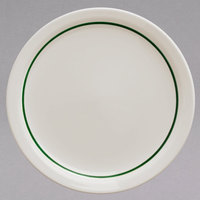 Homer Laughlin 2131430 Green Jade Narrow Rim 7 1/4 inch Ivory (American White) China Plate - 36/Case