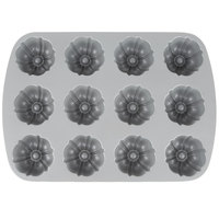 12 Compartment Non-Stick Aluminum Bundtlette Muffin / Mini Cake Pan - 9 7/16 inch x 13 3/8 inch