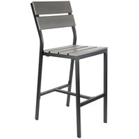 BFM Seating PH202BGRTK-BL Seaside Black Aluminum Outdoor / Indoor Side Bar Height Chair with Gray Synthetic Teak Back and Seat