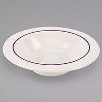 Homer Laughlin 3741492 Seville Maroon Jade 9.5 oz. Ivory (American White) China Grapefruit Bowl - 36/Case