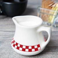 Homer Laughlin 1765413 Scarlet Checkers 8.5 oz. Ivory (American White) China Jug Creamer - 24/Case