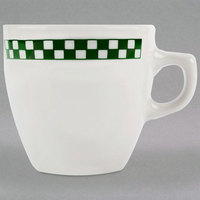 Homer Laughlin 10521708 Green Checkers 10 oz. Ivory (American White) China Bistro Cup - 36/Case