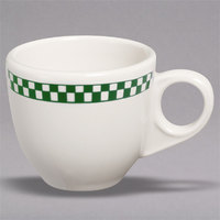 Homer Laughlin 1081708 Green Checkers 3.5 oz. Ivory (American White) China AD Cup - 36/Case
