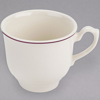 Homer Laughlin 1121492 Seville Maroon Jade 7.75 oz. Ivory (American White) China Cup - 36/Case