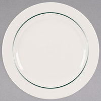 Homer Laughlin 3711430 Seville Green Jade 10 5/8 inch Ivory (American White) China Plate - 12/Case