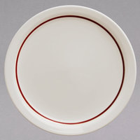 Homer Laughlin 2241492 Maroon Jade Narrow Rim 9 inch Ivory (American White) China Plate - 24/Case