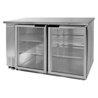 Beverage Air BB58G-1-S-LED 58 inch Back Bar Refrigerator with 2 Glass Doors and Stainless Steel Front - 115V