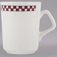 Homer Laughlin 1321791 Maroon Checkers 8.25 oz. Ivory (American White) China Troy Mug - 36/Case