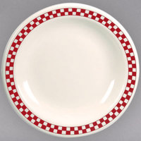 Homer Laughlin 2255413 Scarlet Checkers 9 3/4 inch Ivory (American White) China Narrow Rim Plate - 12/Case