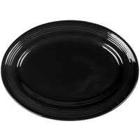 Tuxton CBH-116 Concentrix 11 1/2 inch x 8 3/8 inch Black Oval China Platter - 12/Case