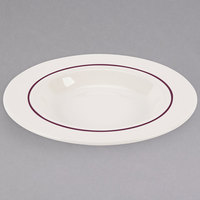 Homer Laughlin 3791492 Seville Maroon Jade 11 oz. Ivory (American White) Rimmed China Soup Bowl - 24/Case