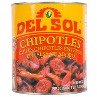 Del Sol 10# Can Whole Chipotle Peppers in Adobo Sauce - 6/Case