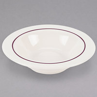 Homer Laughlin 3751492 Seville Maroon Jade 4.25 oz. Ivory (American White) China Fruit Dish - 36/Case