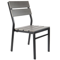 BFM Seating PH202CGRTK-BL Seaside Black Stackable Aluminum Outdoor / Indoor Side Chair with Gray Synthetic Teak Back and Seat