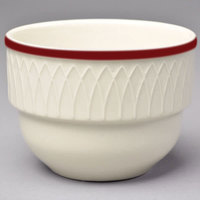 Homer Laughlin 3831492 Gothic Maroon Jade 7 oz. Ivory (American White) Stackable China Bouillon   - 36/Case