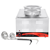 Avantco 12 inch x 20 inch Full Size Electric Countertop Food Cooker / Warmer with 2 Insets, 2 Ladles, and 2 Covers - 120V, 1500W
