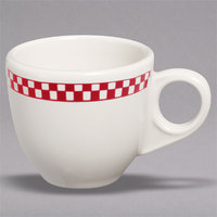 Homer Laughlin 1085413 Scarlet Checkers 3.5 oz. Ivory (American White) China AD Cup - 36/Case