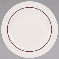 Homer Laughlin 3721492 Seville Maroon Jade 11 inch Ivory (American White) China Plate - 12/Case