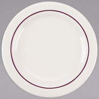 Homer Laughlin 3851492 Seville Maroon Jade Narrow Rim 6 1/4 inch Ivory (American White) China Plate - 36/Case