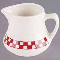 Homer Laughlin 1755413 Scarlet Checkers 5.25 oz. Ivory (American White) China Jug Creamer - 24/Case