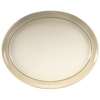 Homer Laughlin 3511430 Gothic Green Jade 9 5/8 inch x 6 3/4 inch Ivory (American White) Oval China Platter - 24/Case