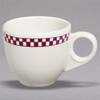 Homer Laughlin 1081791 Maroon Checkers 3.5 oz. Ivory (American White) China AD Cup - 36/Case