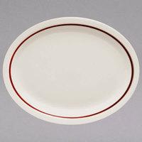 Homer Laughlin 2621492 Maroon Jade Narrow Rim 12 1/2 inch x 10 1/4 inch Ivory (American White) Oval China Platter - 12/Case