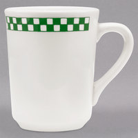 Homer Laughlin 1091708 Green Checkers 8.5 oz. Ivory (American White) China NY Cup - 36/Case